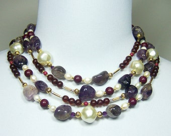 "SALE 74"" Cascade of Pearls, Agate, Amethyst Gold Filled 14kt Gold Plated Sterling and More Multi Strand / Statement Necklace"
