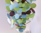 Baby Mobile in Blue, Green and Brown, OR Custom colors, monkey theme nursery, baby boy, paper mobile