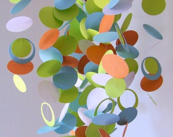 Baby Mobile in Orange, Green, White and Blue - or - Customize the colors to fit your nursery decor