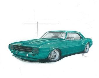 Green 68 camaro Print