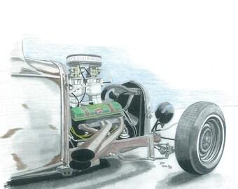 Rat Rod engine Print