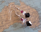 Swarovski crystal earrings, Red/Ruby, Clear and Black.