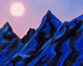 FOR DENA ONLY - Small Oil Painting Moon Mountain Landscape Framed Original Fine Art
