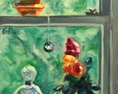 Small Oil Painting Still Life Greens Window Floral 4 x 6 titled On My Windowsill - A Painting a Day