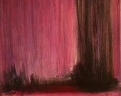 Large Abstract Painting Black, Brown, Purple, Magenta, Crimson Ready to Hang - GwenDudaStudios