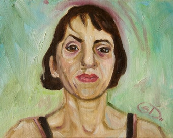 SFA Small Portrait Oil Painting Female Brunette - A Painting A Day