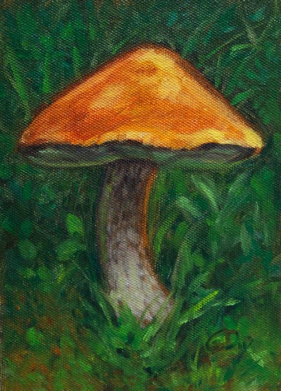 Mushroom Oil Painting Small Art Red Orange Top Mushroom Nature