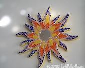 Sun, Bohemian, Mosaic Wall Art, Flowering Sun, Yellow, Orange, Royal Blue, Meditative