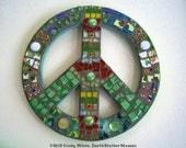 Peace Sign Mosaic, Hippie, Vintage, Retro, Pique Assiette - Green Earth - 10 inches