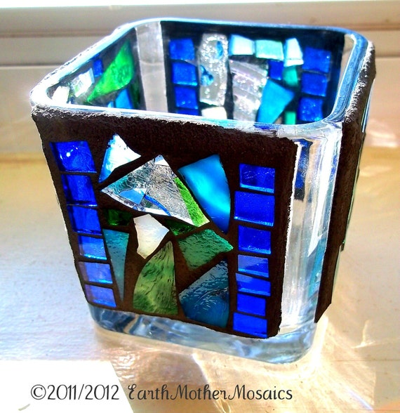 Mosaic Stained Glass Candle Holder, Luminary, Blue, Green, Votive, Lantern, Shelter, Blue Water, Home Spa, Hostess Gift - 3 1/2 inches