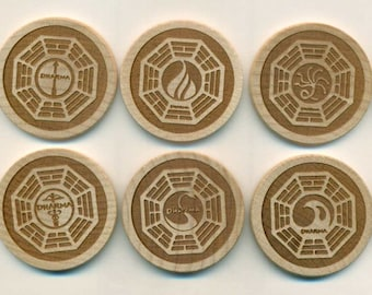 DHARMA LOST Laser Engraved Magnets - Set of 10