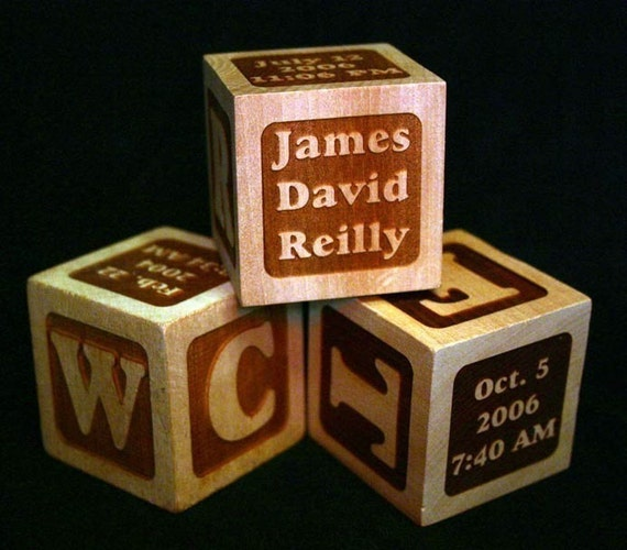 Set of 3 Personalized Baby Keepsake Blocks - Perfect gift for Parents, Grandparents, New Baby