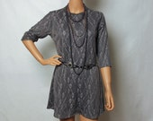 Gray Lace Dress With Silk Bow Tie