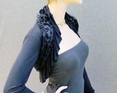 Black Shrug with lace ruffles long sleeves/shrug/bolero/shrugs/boleros