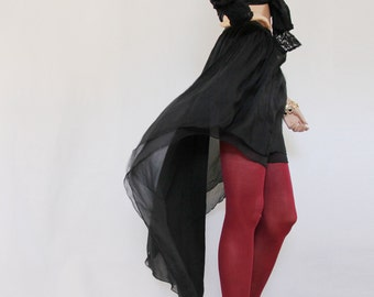 Long skirt -Dipped silk black chiffon skirt, women skirt