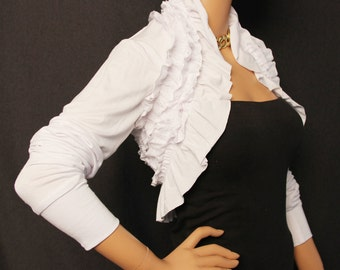 Shrug / White Ruffle Shrug / White Shrug / Ruffles / Borero / Wedding Bolero / Ruffle Top