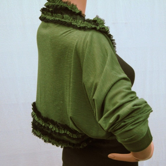 Olive Green Shrug Cardigan with Ruffles ID2