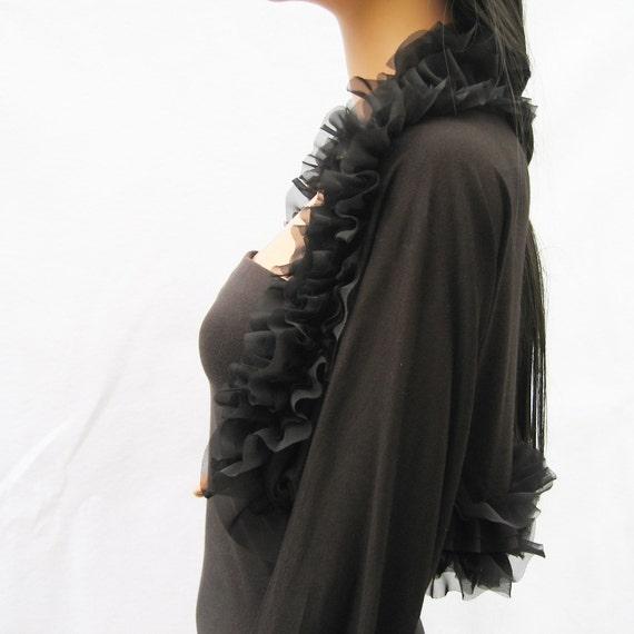 black ruffles women/ outerwear/ jackets/