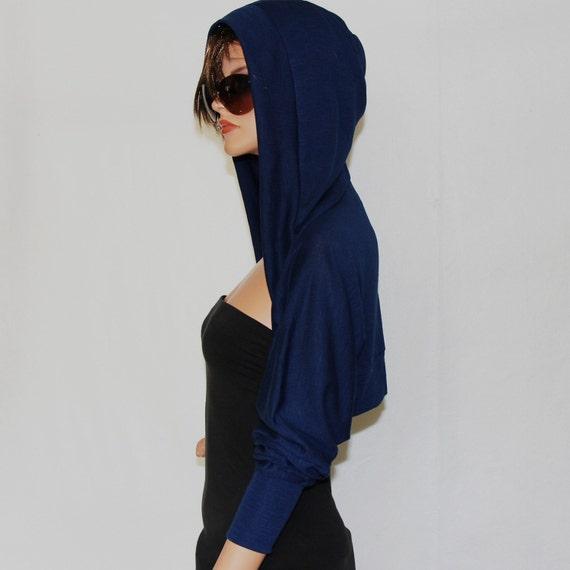 Denim blue Shrug hoodie/hoodies/sweatshirts/ HS-DE-BL