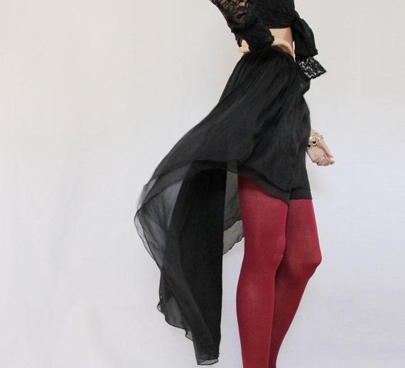 Long skirt -Dipped silk black chiffon skirt, women skirt