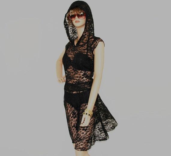 little black dress// party dress//lace hoodie dress//Women dress