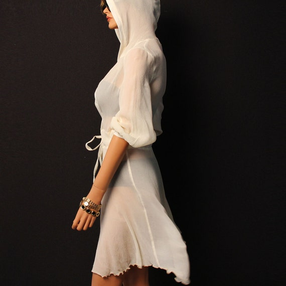 Ivory white  sheer silk hooded dress