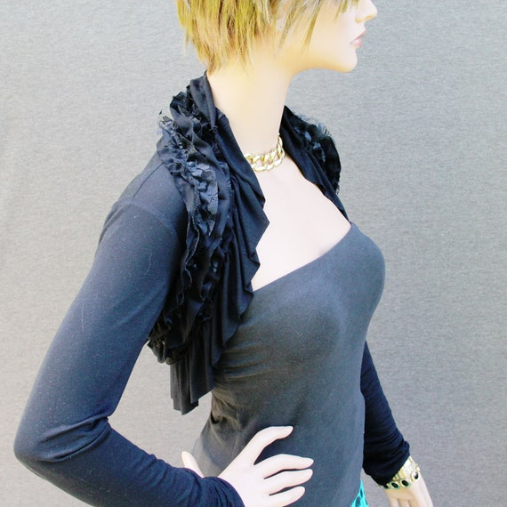 Black Shrug with lace ruffles long sleeves/shrug/bolero/shrugs/boleros
