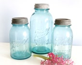 Three Vintage Aqua Ball Mason Jars