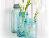 3 Blue Ball Vintage Mason Jars
