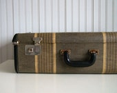 Vintage Striped Canvas and Leather Suitcase
