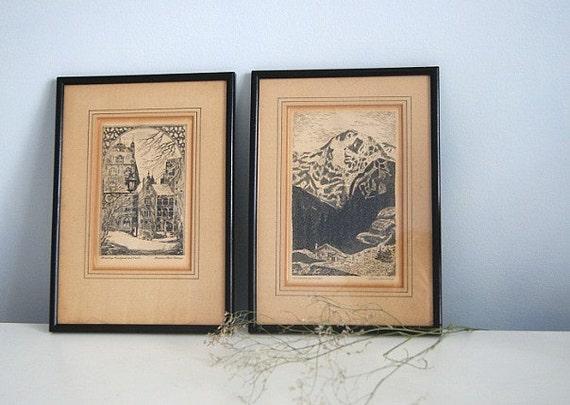 Vintage European Etching Pair Framed