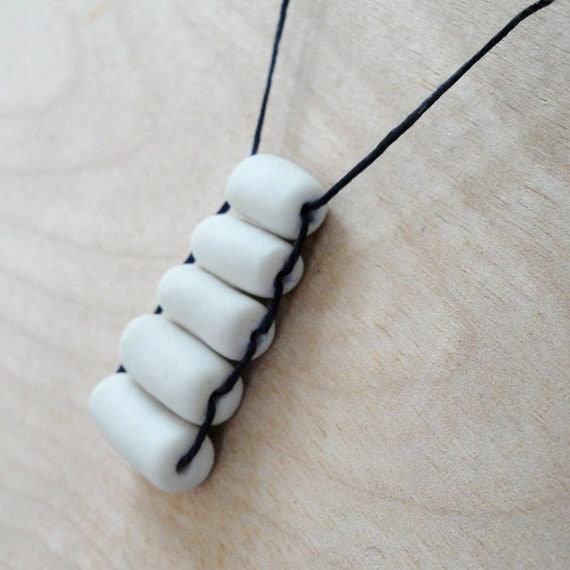 Porcelain Beaded Necklace - 5 Porcelain Beads on Navy Waxed Linen
