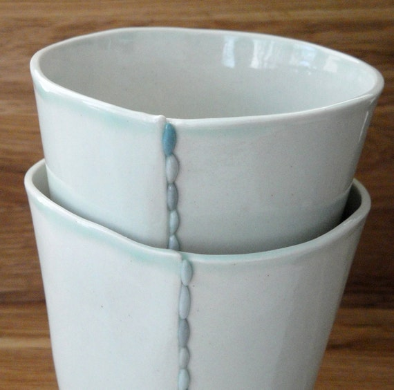 Reserved for Denise- Handmade Ceramic Porcelain Cups - Set of 4