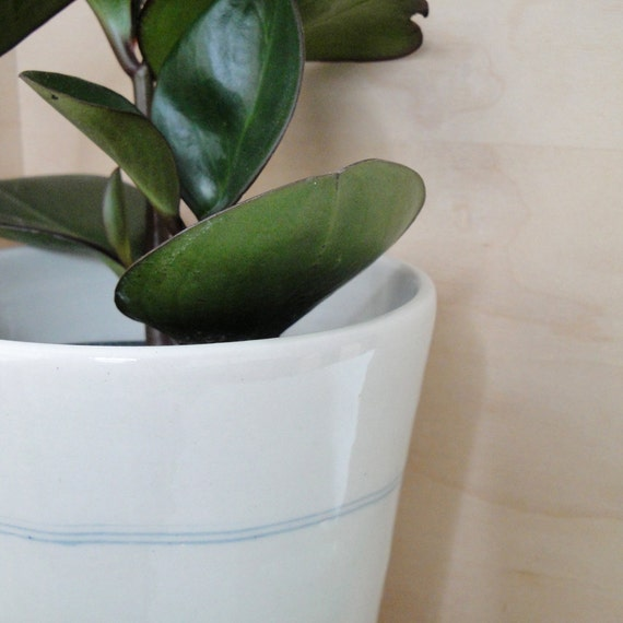 Reserved for Tali - Porcelain Planter with Attached Tray and Drainage Hole