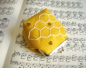 Bumble Bees in a Honeycomb hand embroidered and stamped mini clasp purse