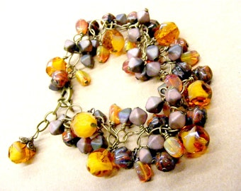 Coffee Medley - Czech fire polish and pressed glass woven bracelet