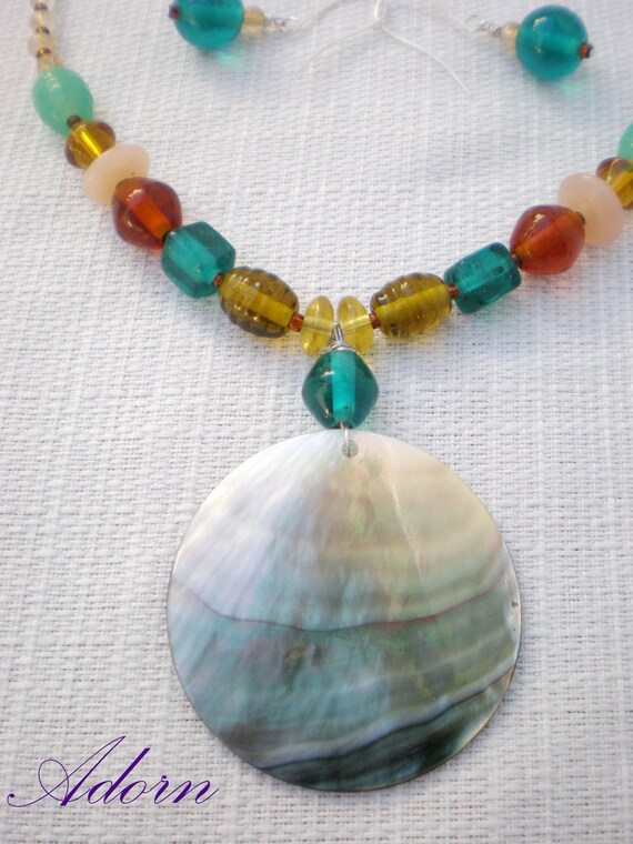 earthy toned glass beaded necklace with mother of pearl pendant SALE