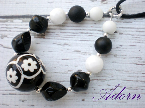 Nursing Necklace in Black and White Vintage Beads