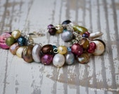Bridesmaids Colored Freshwater Pearl Bracelet | Multi Colored Pearls | Bridesmaid Gifts | Gifts of the Sea | Mermaid Jewelry | Silver Clasp