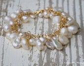 Bridal or Bridesmaids Freshwater Pearl + Gold Bracelet Custom | Gold + Pearls | Pearl Bracelet | Freshwater Pearls | Wedding Bracelet|