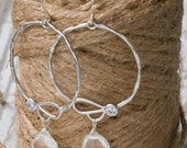 Brides or Bridesmaids Organic Shaped Silver Hoop Earrings with Crystal Quartz Drop | Silver Hoops | Drop Hoops | Organic Jewelery | Bridal