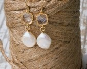 Brides Coin Pearl and Crystal  Earrings