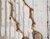 Bridesmaids Bronze Branch Earrings with Smokey Quartz |  Custom Handmade | Smokey Quartz Gemstone | Gold Branch Jewelry | Nature Inspired