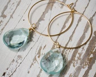 Bridesmaids 25mm Gold Hoop Earrings with Blue Quartz Pear Shaped Stone | Blue Quartz Earrings | Pear Shapede Gemstone | Gold Hoop Earrings