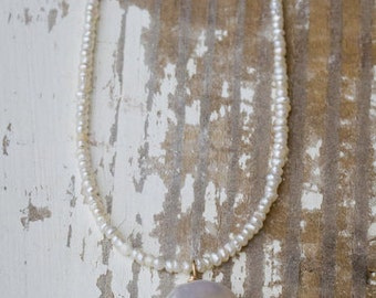 Bridesmaids Custom Seed Pearl Necklace with Gold Bead Accents and Coin Pearl Pendant  | Custom Gifts | Pearl Jewelry |