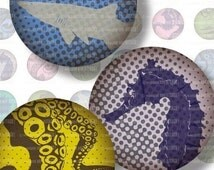 Grungy, Mod Sea Creatures . Digital Collage Sheet . 1 inch circles . Sheet 112