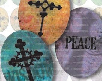 Christian Crosses . Digital Collage Sheet 136 . 30 x 40 mm ovals
