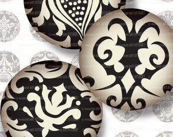 Ivory and Black Damask . Digital Collage Sheet 1 inch circles . Sheet 108