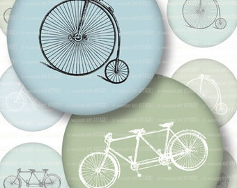 Vintage Bikes, Blue and Green . Digital Collage Sheet 217 . 1 inch (25.4 mm) circles