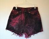 DENIM CUTOFF SHORTS  - Hand Dyed Burgundy Wine Urban Ombre Style Denim High Rise Vintage Shorts - Misses Size 8 (30)